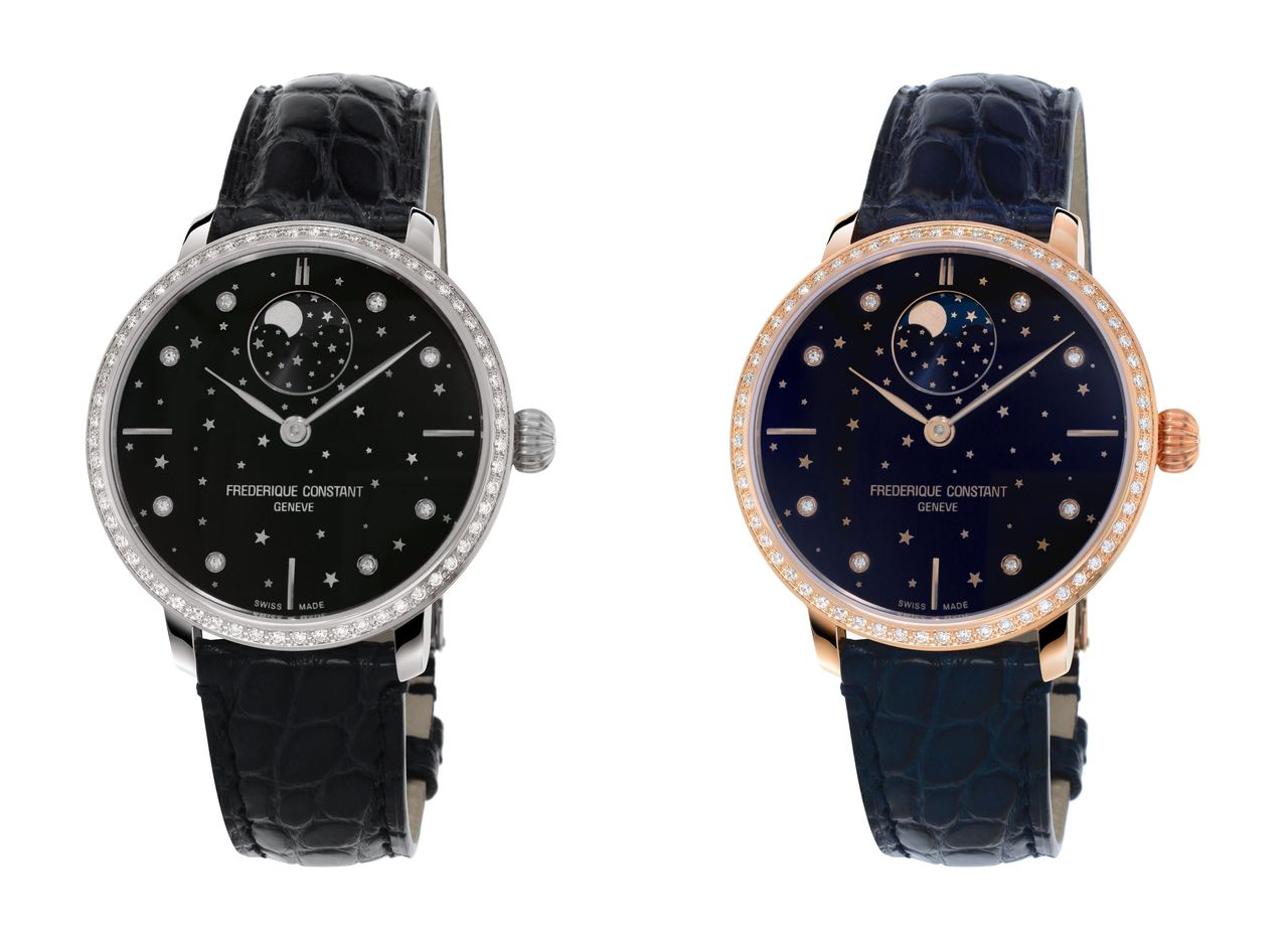 Frédérique Constant Slimline Moonphase Stars Manufacture - aranyozott és acél változatban, de mindkét esetben gyémántokkal