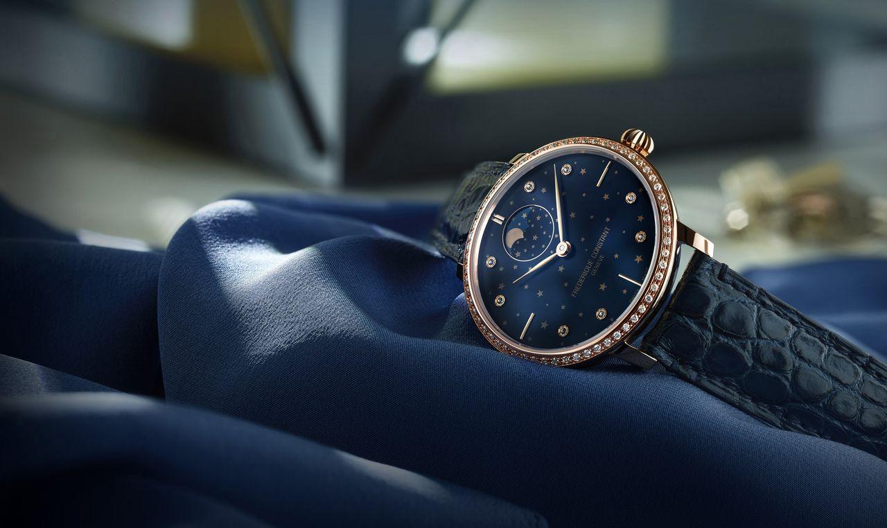 Frédérique Constant Slimline Moonphase Stars Manufacture - az arany kékkel párosítva női órákon is jól mutat