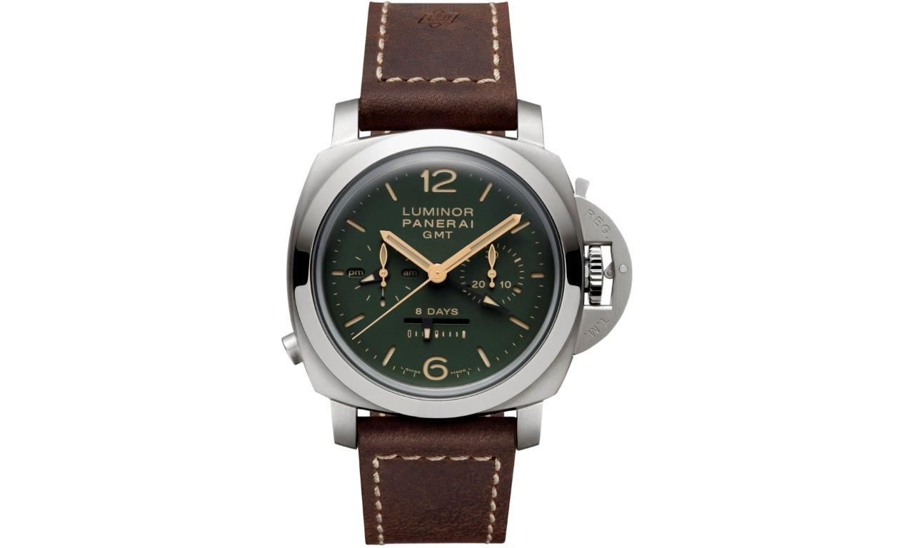 Officine Panerai Green Dial Luminor 1950 Chrono Monopulsante 8 Days GMT Titanio - 44mm PAM00737, - ritka kronográf szerkezet, borsos ár