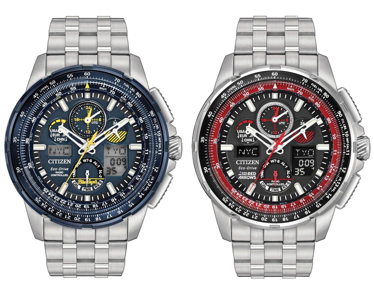 Kötelékben a két bemutatócsapat órája - Citizen Skyhawk A-T JY8058-50L (Blue Angels) és JY8059-57E (Red Arrows)