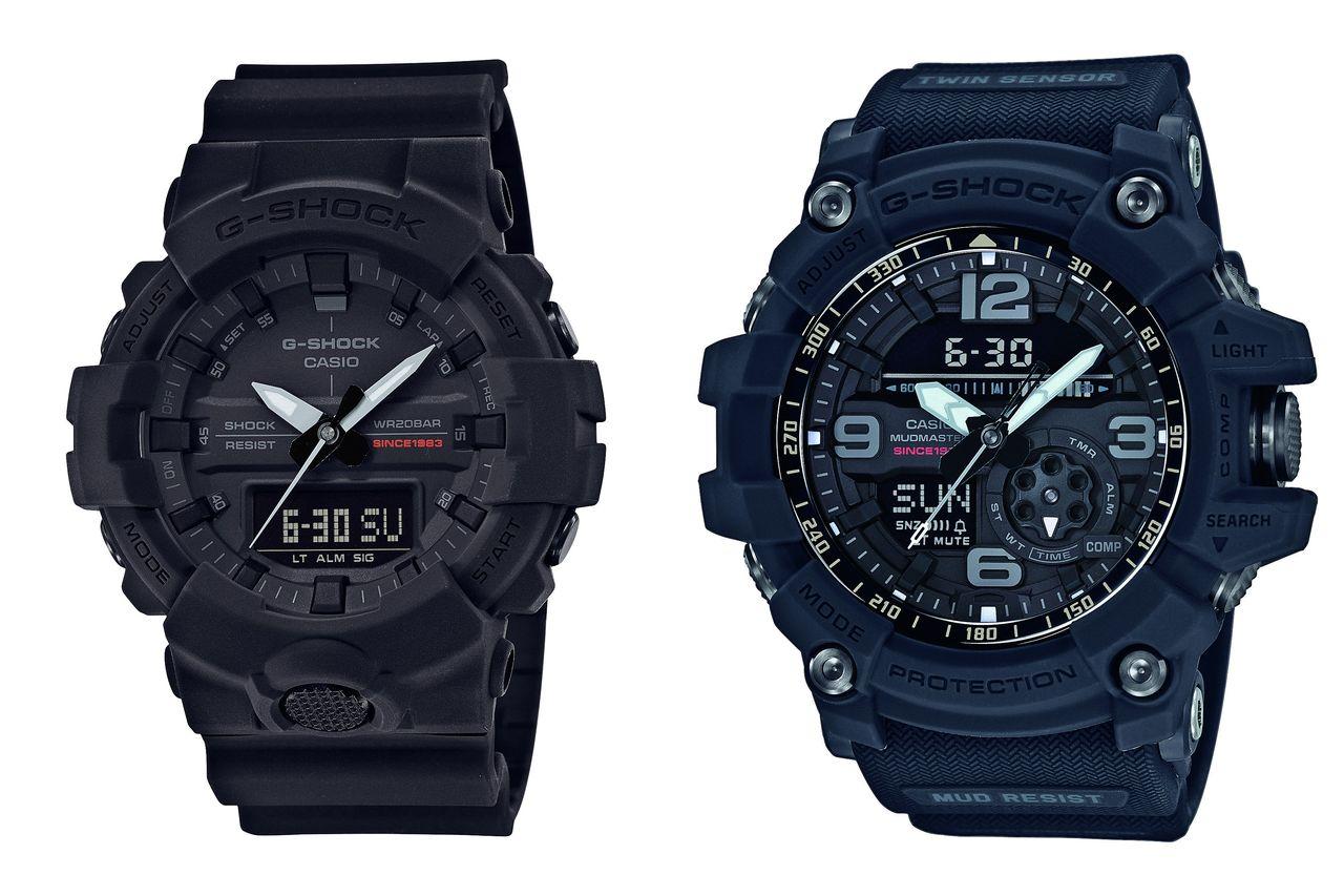 Casio G-Shock Big Bang Black GA-835A (54,1 mm átmérő, kb. 42000 ft) és GG1035A (56,2 mm átmérő, 115000 ft)