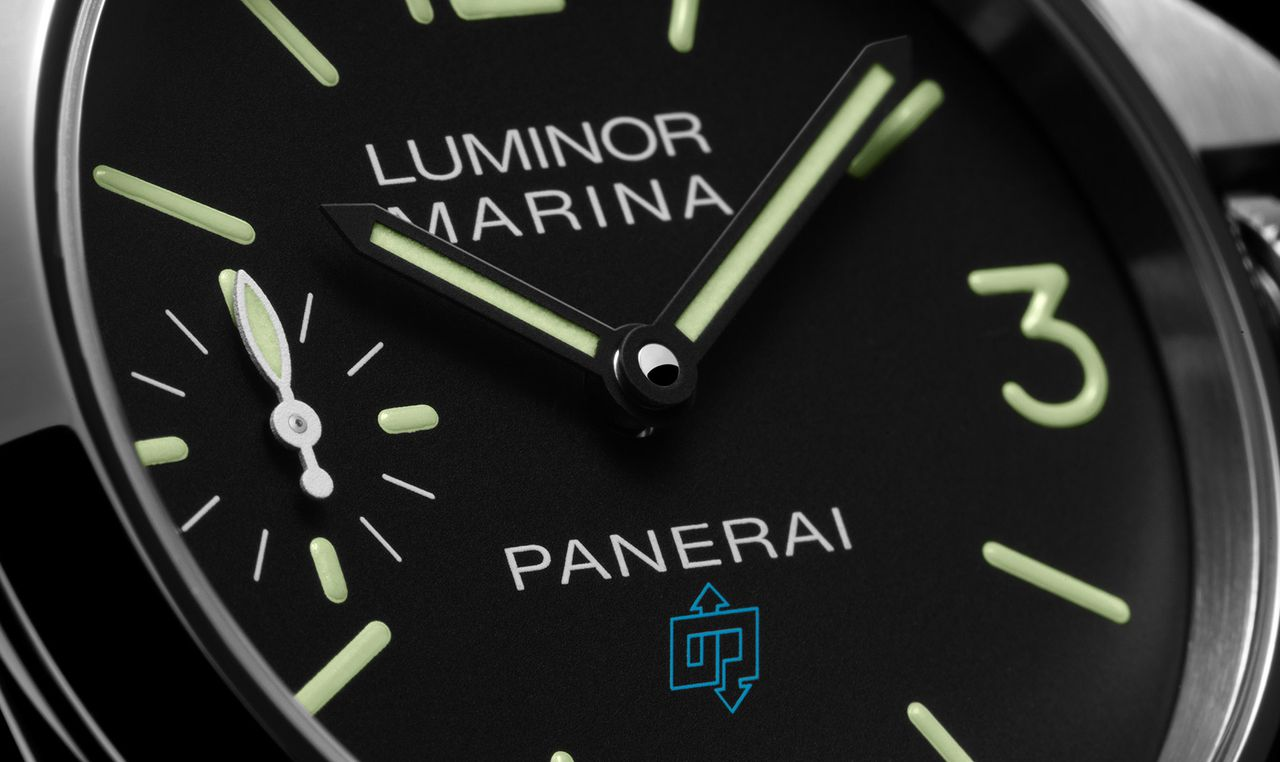 Officine Panerai Luminor Marina Logo 3 Days Acciaio - szendvics számlap helyett festett indexek és számok