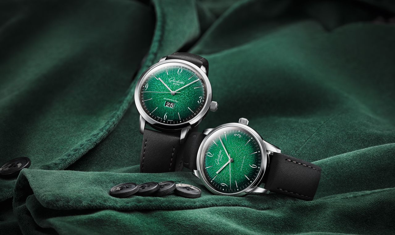 Glashütte Original Sixties Grün - dátum nélkül, hárommutatós kivitelben is kapható