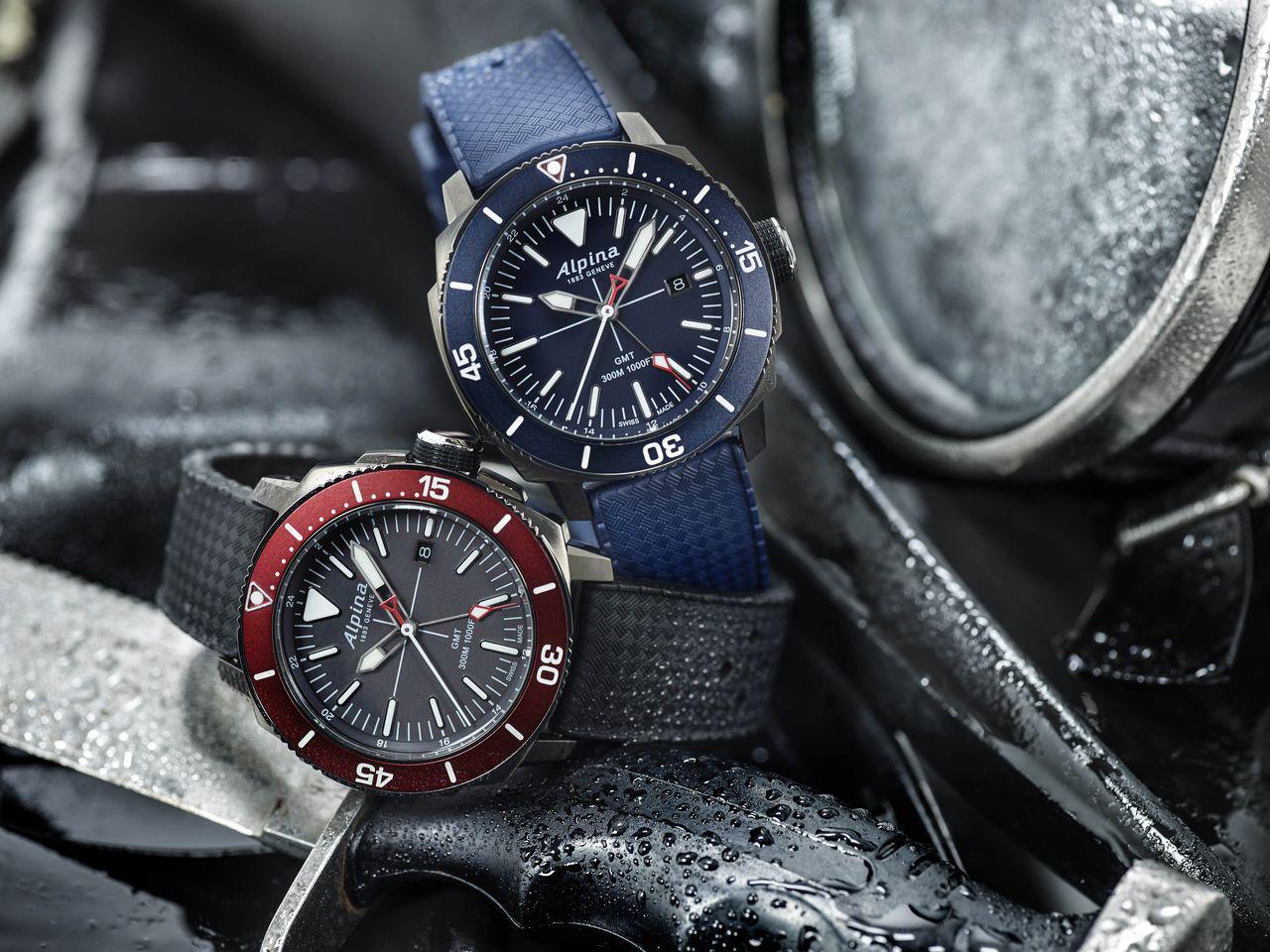 Alpina Seastrong Diver GMT - színben illeszkedik a kollekció többi tagjához