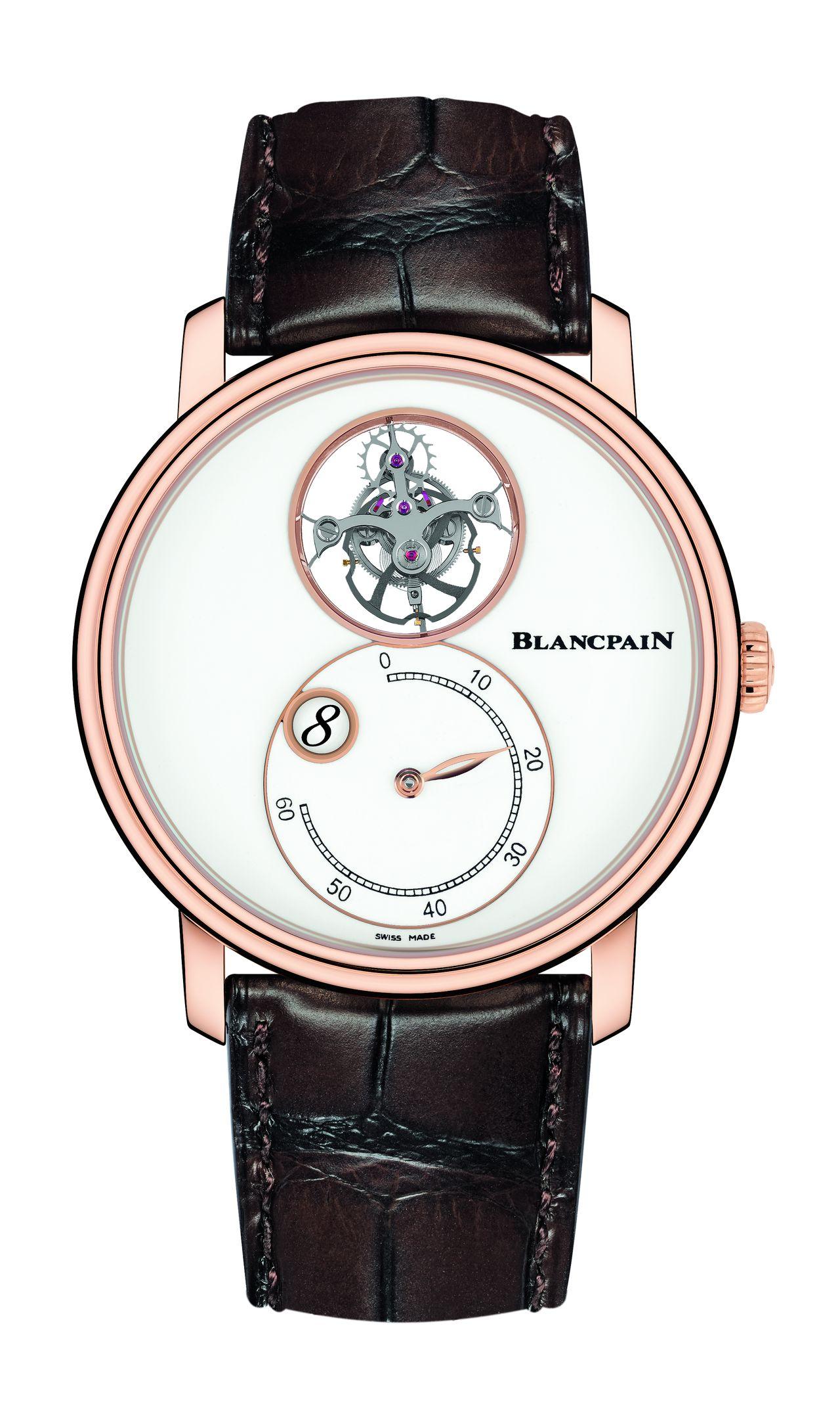 Blancpain Villeret Tourbillon Volant Heure Sautante Minute Rétrograde - látszólag a semmiben lebeg a tourbillon - óra, perc, másodperc. Csak a lényeg, a maradék teret a zománc szépsége tölti ki.