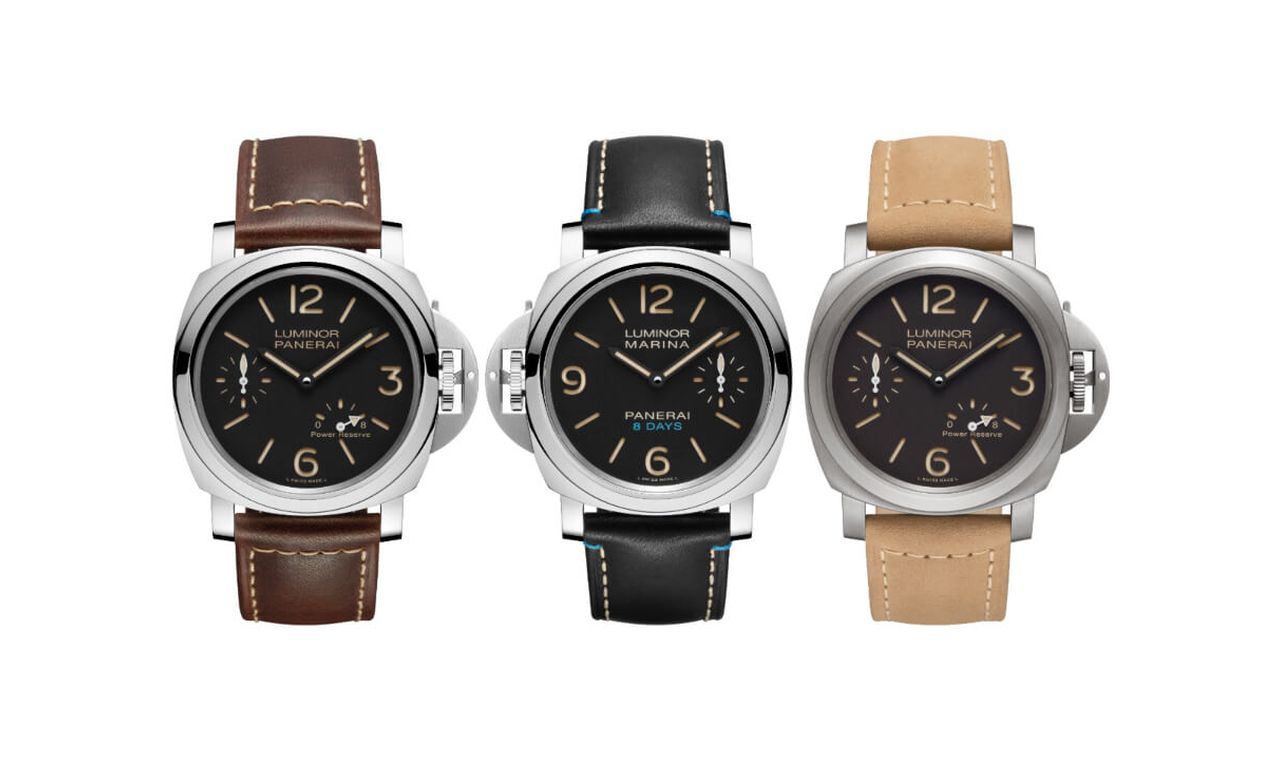 Officine Panerai Luminor 8 Days Power Reserve - sorban a trió (PAM00795, PAM00796, PAM00797)