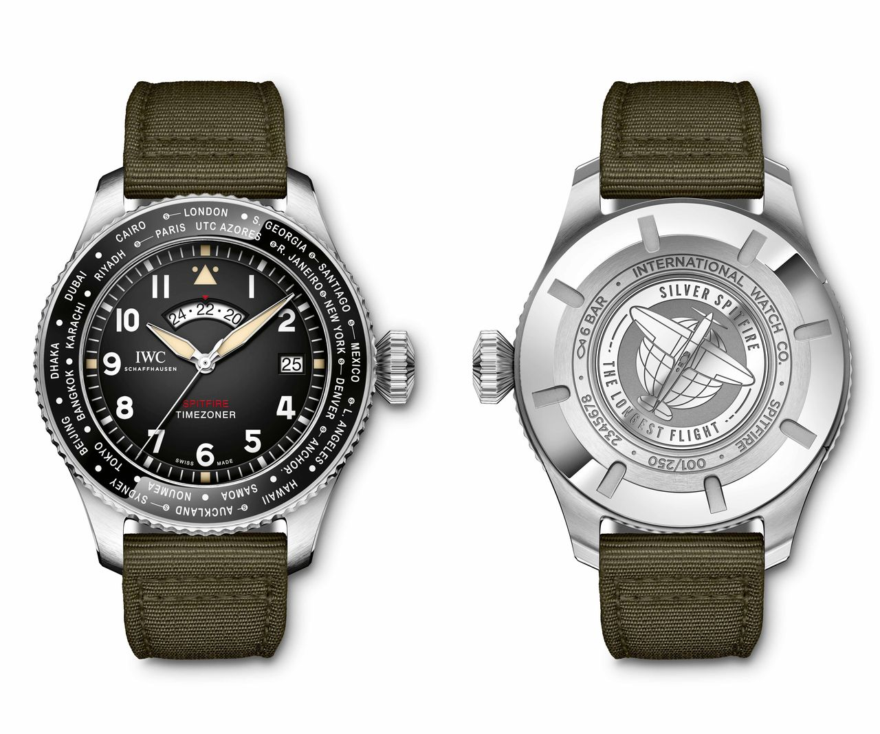 "IWC Pilot's Watch Timezoner Spitfire Edition ""The Longest Flight - 46 mm és limitál 250 darabra"