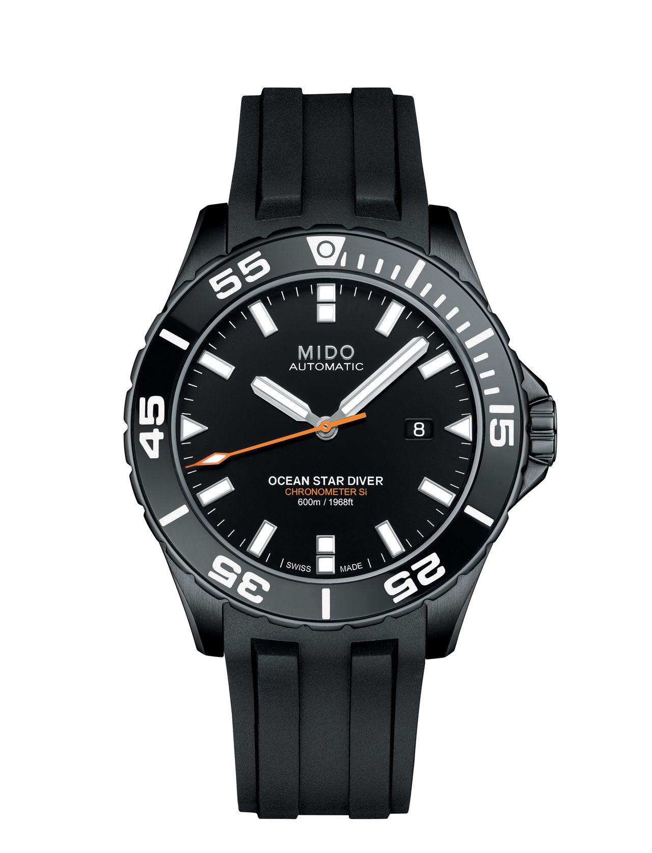 Mido Ocean Star Diver 600 - fekete mellett kék számlapos változat fémcsattal is készül