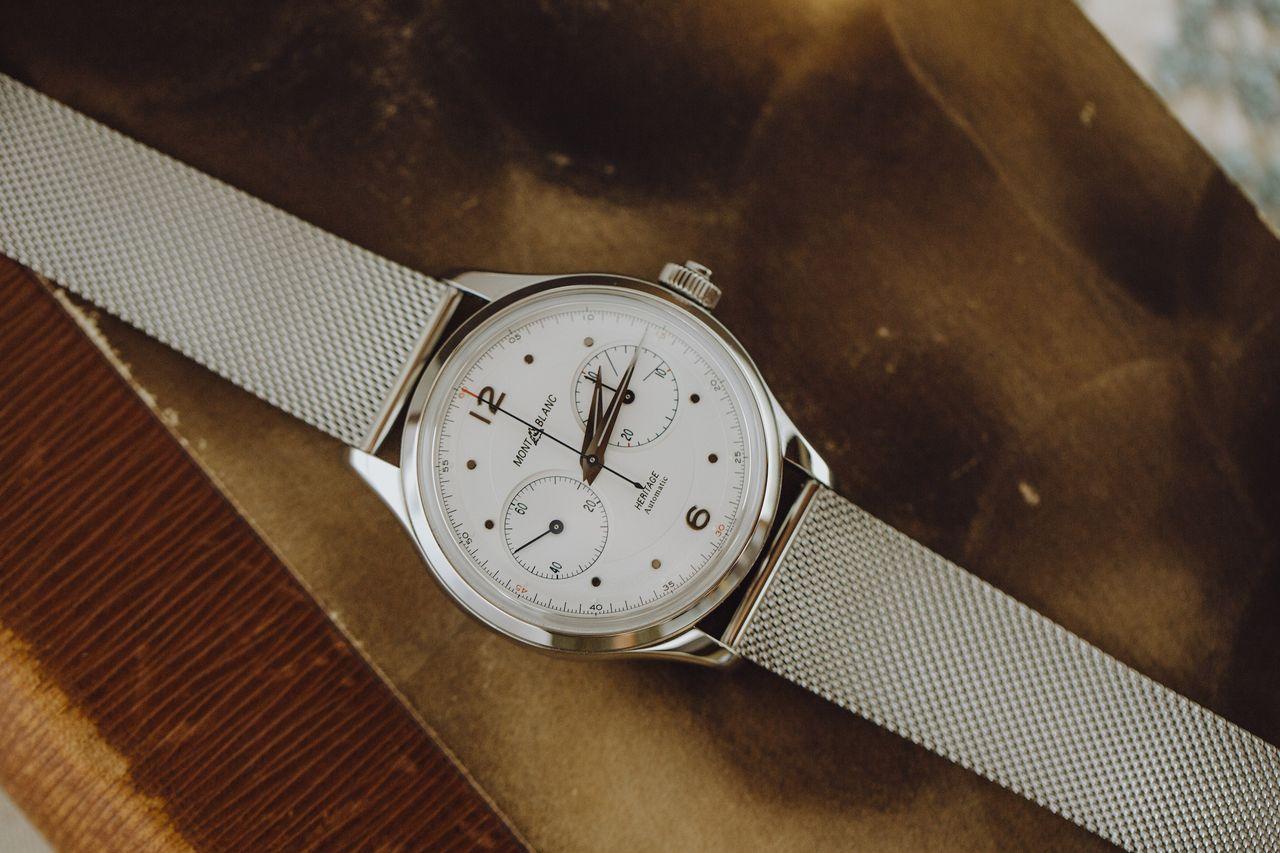 Montblanc Heritage Monopusher Chronograph - milánói (fonott szemű) fémcsattal is kapható