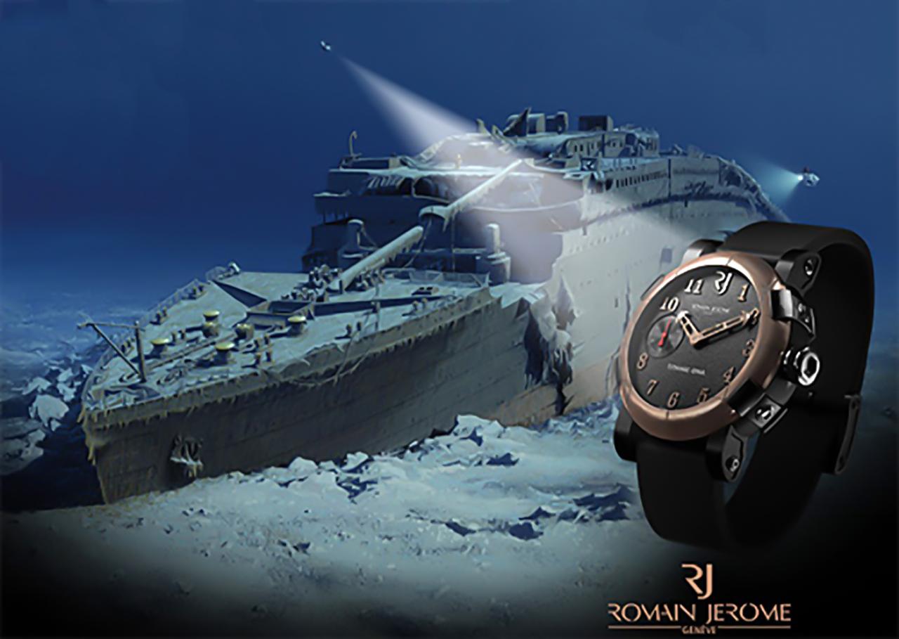 Romain Jerome Titanic DNA, háttérben az elsüllyedt legenda roncsa. Fotó: Romain Jerome