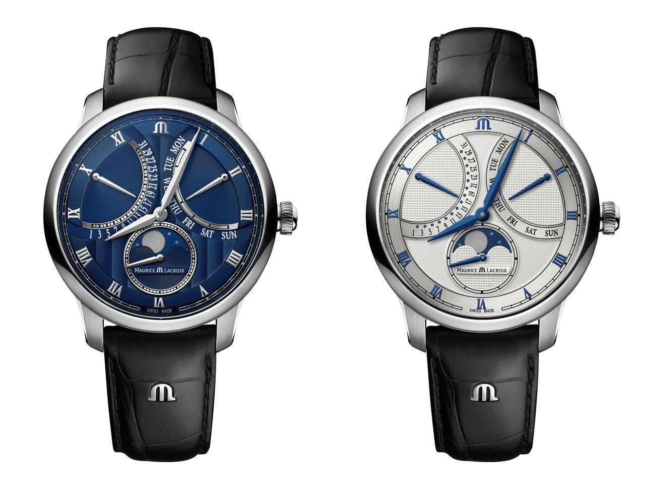 Maurice Lacroix Moonphase Masterpiece Retrograde - a divatos kék a konzervatívabb fehér számlapos változatról sem hiányzik