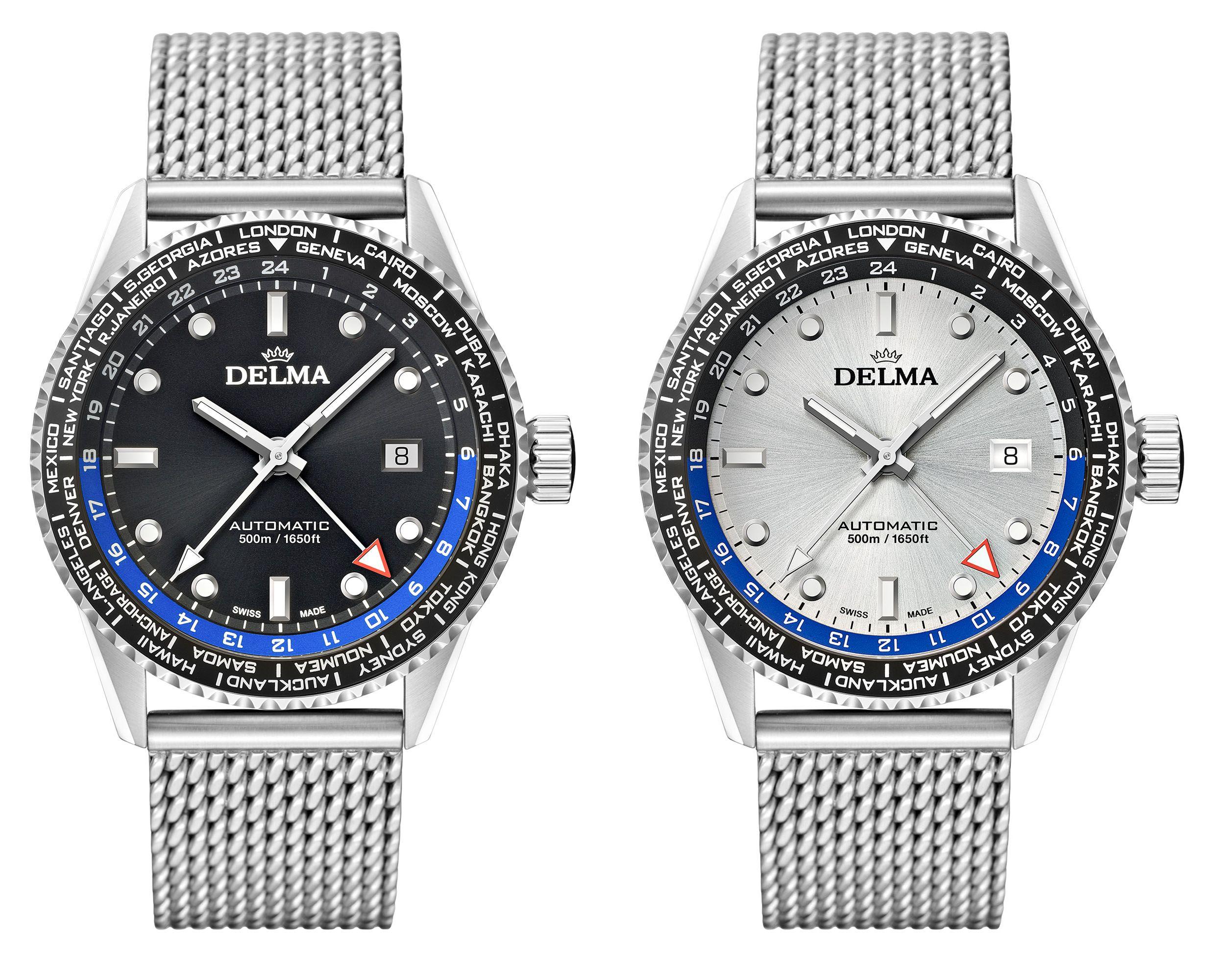 Delma Cayman Worldtimer Automatic - számlapból alapszínek: fekete, ezüst és kék