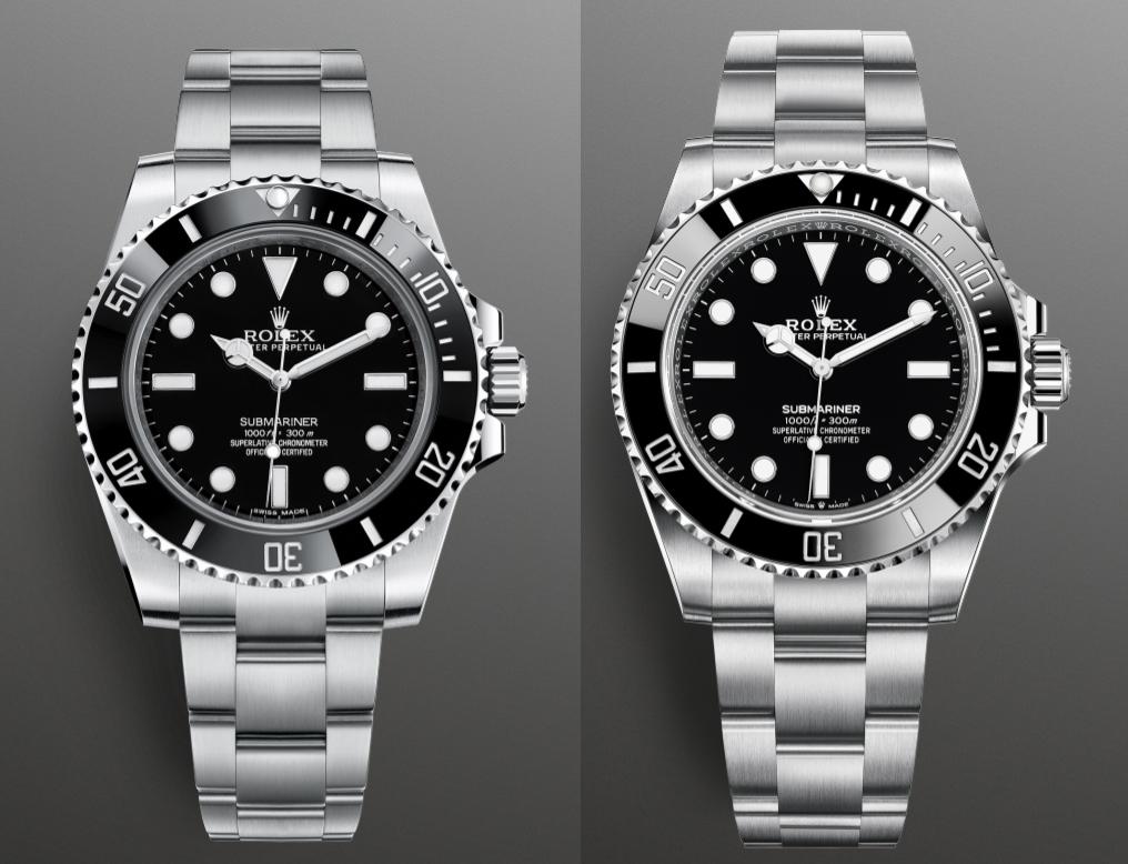 Rolex Oyster Perpetual Submariner 114060 balra és az új Rolex Oyster Perpetual Submariner 124060 jobbra. Méretarányos összehasonlítás. Forrás: Rolex