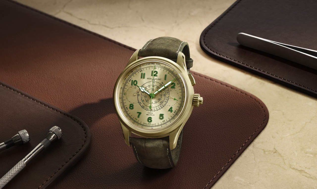 Montblanc 1858 Split Second Chronograph Lime Gold