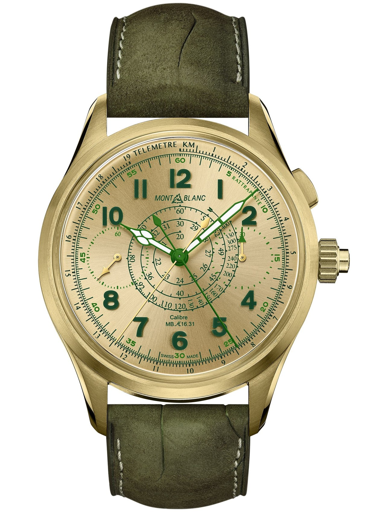 Montblanc 1858 Split Second Chronograph Lime Gold - zöld aranyban