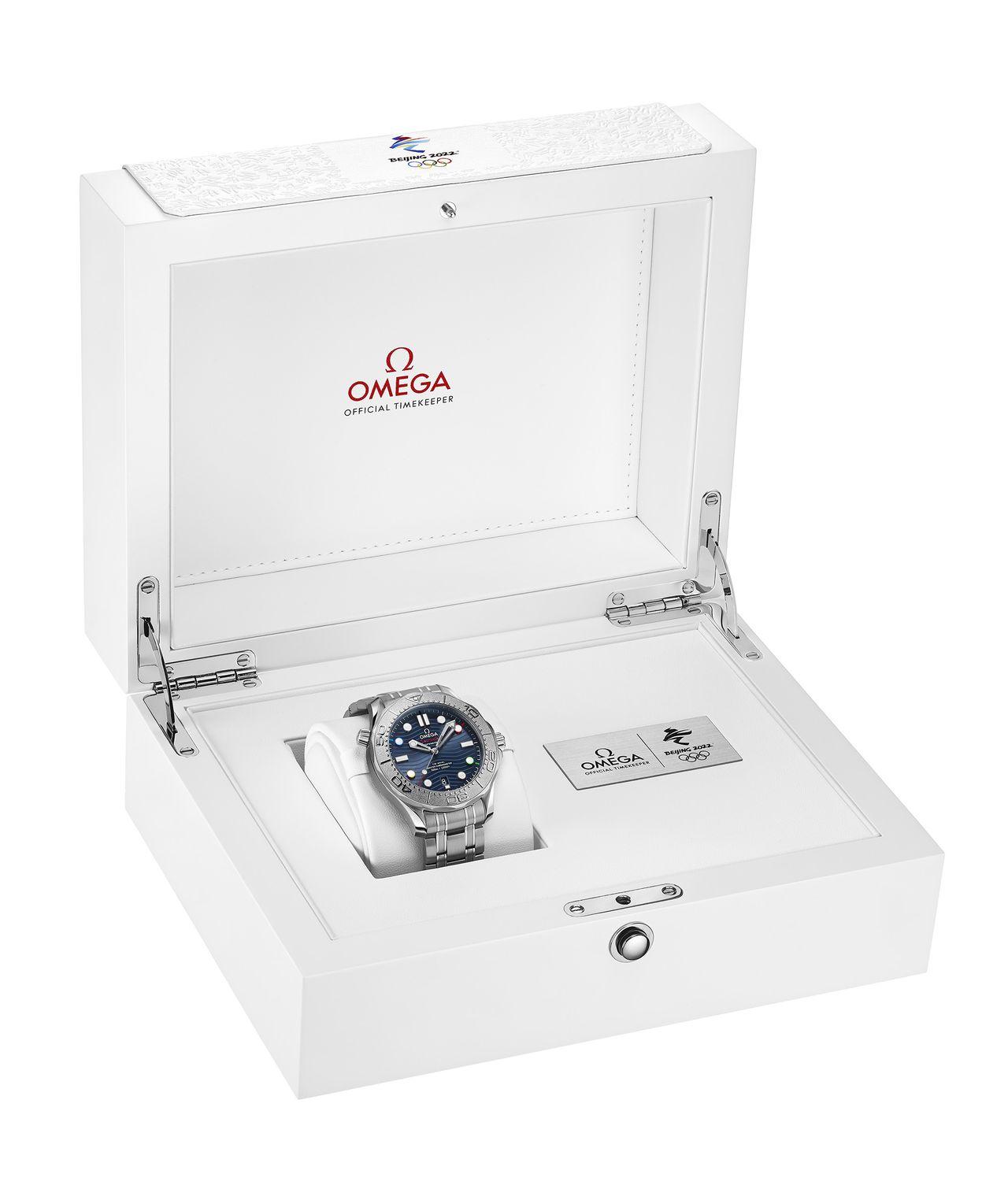"Omega Seamaster Diver 300M ""Beijing 2022"" Special Edition - téli játékokhoz fehér doboz dukál"