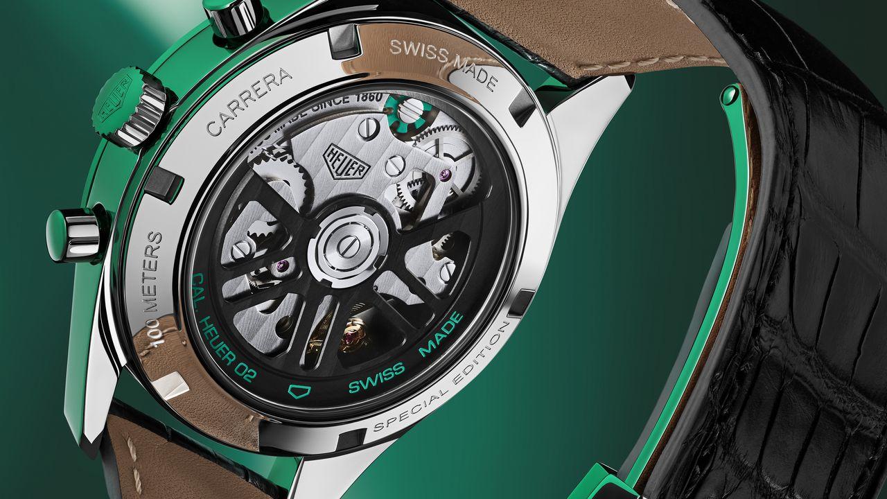 TAG Heuer Carrera Green Special Edition - H02 kalibert hátulról szemügyre vehetjük