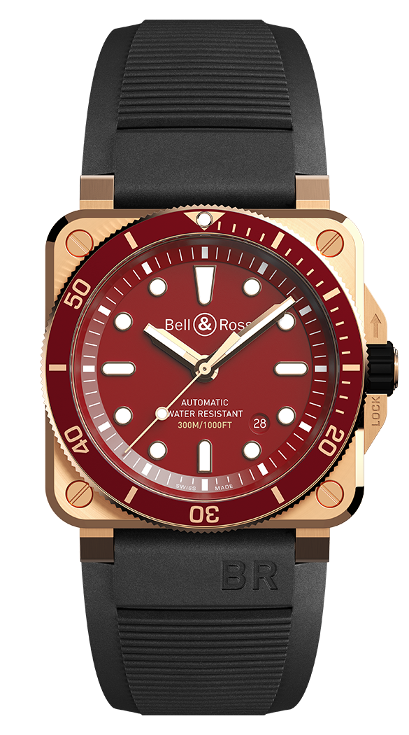 Bell & Ross BR 03-92 DIVER RED BRONZE Limited Edition. Gumis szíjon. Referenciaszám: BR0392-D-R-BRSCA-1. Forrás: Bell & Ross