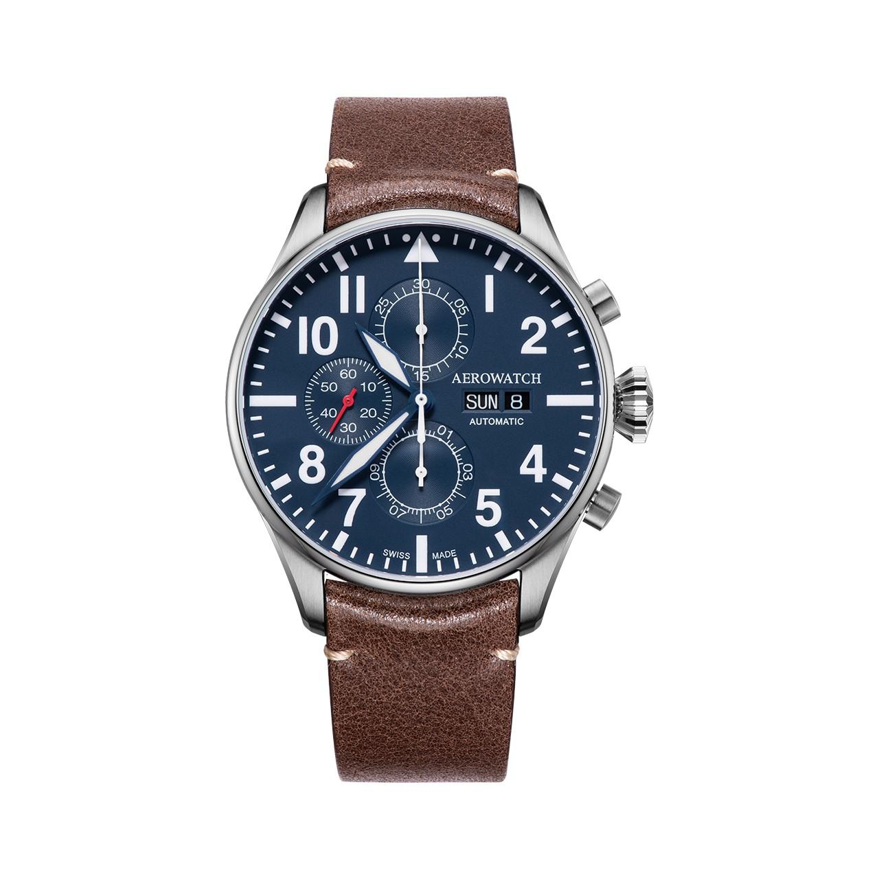 """Aerowatch Les Grandes Classiques Chronograph Pilote - """"csalnak"""" a számokkal és indexekkel"""