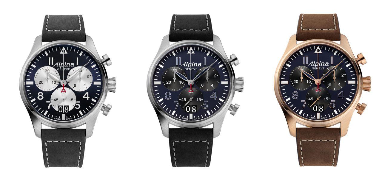 Alpina Startimer Pilot Quartz Chronograph Big Date - középütt az éjkék változat