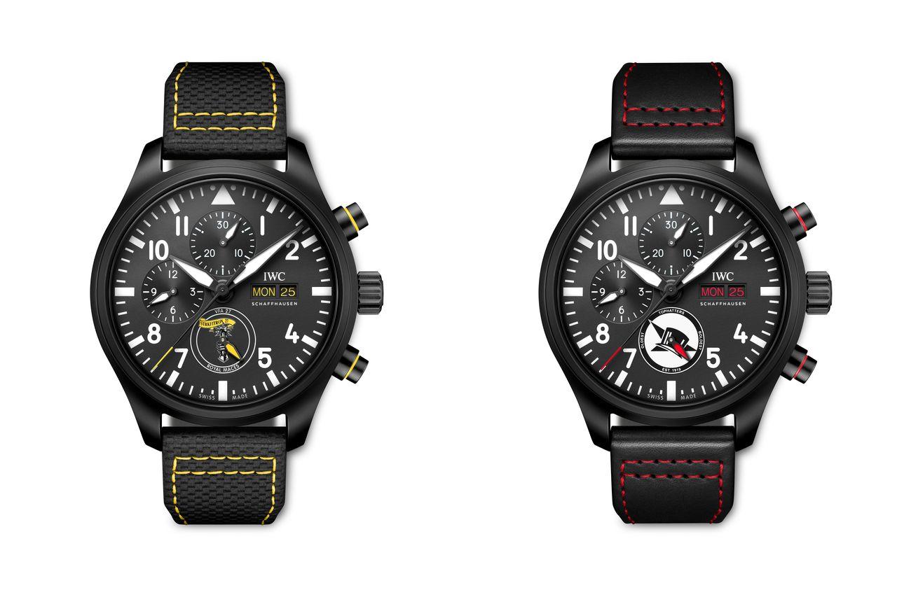 IWC Pilot's Watch Chronograph U.S. Navy Squadrons Editions - rendkívül ritka, hogy a dátumablak számjegyeinek színe ne fekete vagy fehér legyen, egyben szép részlet is